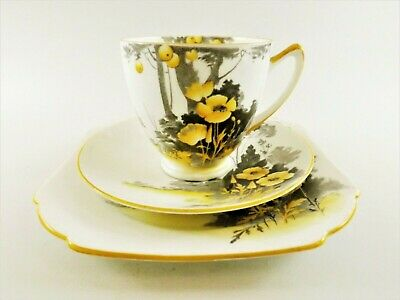 Shelley Trio In The Yellow Floral Poppy Pattern /  York Shape Ref 259/4 • 0.99£