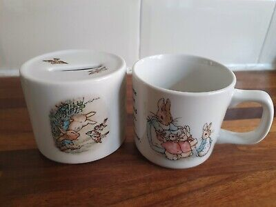 Wedgwood Frederick Warne & Co 1991 Peter Rabbit Children's Cup & Money Box Set • 3£