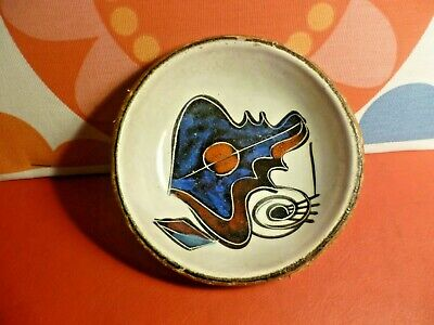 Vintage Abstract Italian Pottery Small Dish Covered In Pigskin Leather • 4.99£
