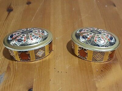 Pair Of Royal Crown Derby  Oval Trinket Box  Pattern 1128 - 2ND QUALITY • 64.99£