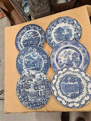 6 X Vintage Mismatched Blue And White Dinner Plates Country Willow Pattern 25cm • 19.95£