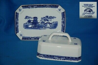 Boxed Wade For Ringtons  Blue And White Willow Pattern Cheese/butter Dish • 12.99£