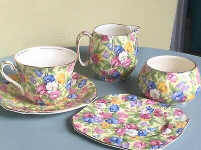 Vintage Royal Winton Chintz Sweet Pea Tea For 1 Bachelor Set Lovely Condition  • 25£
