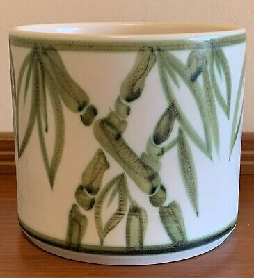 Vintage Round Cylinder Hand Painted Bamboo England Pottery Plant Pot • 7.49£