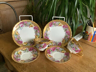 Vintage Hammersley 5160 ? Other English Bone China Floral Sprays Gilt Trios  A/F • 14.50£