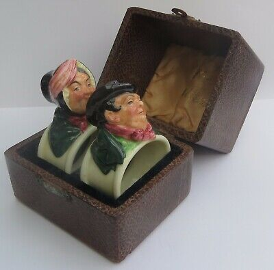 SUPERB EXTREMELY RARE PAIR OF ROYAL DOULTON 'DICKENS' NAPKIN RINGS  C.1935 • 225£