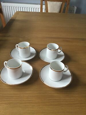 Thomas Germany Porcelain 4 X Coffee/Espresso Cups/ & 4 Saucers & • 4£