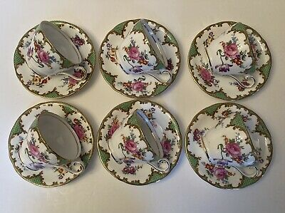 Six Aynsley Wilton Pattern  Cups & Saucers, Scalloped Edge. • 25£