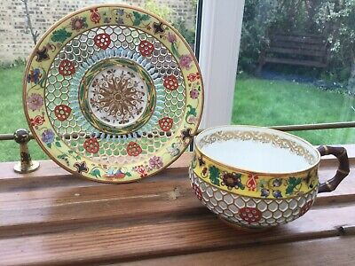 Chamberlains Worcester Double Wall Reticulated Cup And Saucer • 250£
