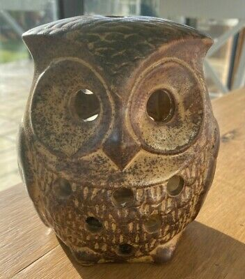 Collectible Mid Century Studio Pottery Owl Candle Holder Light By Peter John • 35£
