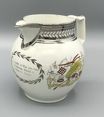 Antique Staffordshire  Pearlware Silver Resist Jug. C1820   • 165£