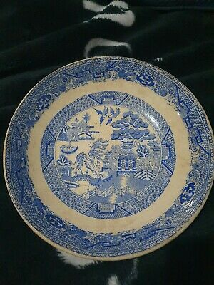 Antique Crackle Glazed Old Blue Willow Pattern Large Bowel • 29.99£