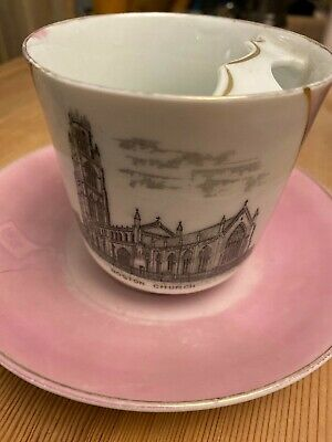 Bone China Pink And White Cup And Saucer Boston Church • 2£
