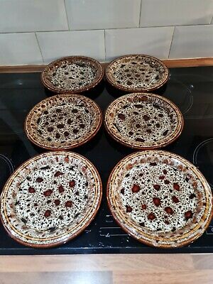 6 Fosters Honeycomb Pottery Cornwall Brown Round Side Plates MID CENTURY MODERN  • 20£
