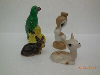 Vintage Szeiler Pottery Animals, Plus Parrot ~ Made In England  • 9£