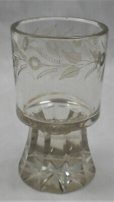 A Heavy Wine Glass With Engraved Border And Cut Base, Bohemia C.1860 • 4.99£