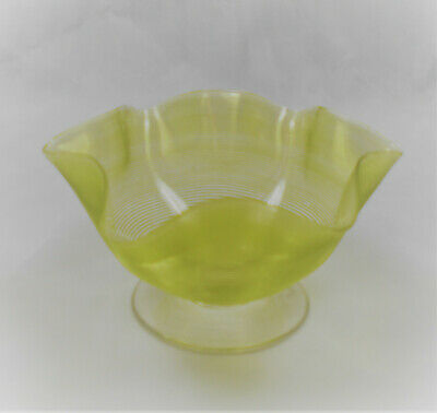 A Crystal Glass Bowl With Yellow Trailed Decoration, English (WEBB?) C.1890 • 9.99£