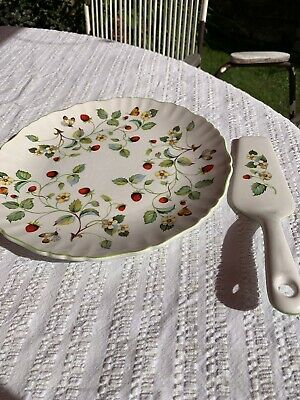 James Kent Staffordshire Old Folley Strawberry Pattern Cake Plate And Slice  • 5£