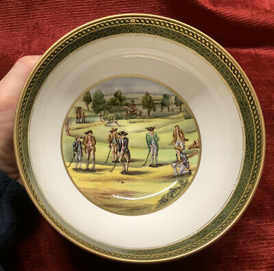SPODE Hand Painted Bowl ~ Antique Golfing Scenes . • 6.90£