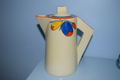 A Very Rare Clarice Cliff Conical Coffee Pot  Flora  Pattern 1930  • 195£
