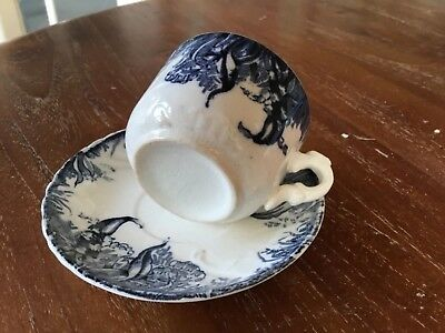 Vintage Tiny Blue And White Vintage Coffee Cup And Saucer Very Pretty • 3£