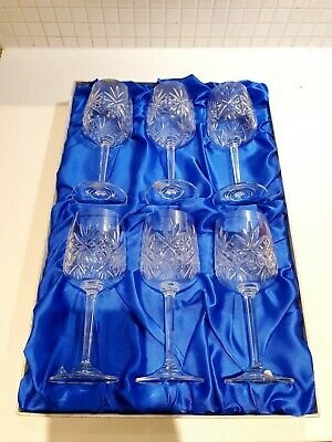 Boxed Set Unused 6 Goblet Wine Glasses By Edinburgh Glass Continental Collection • 38£
