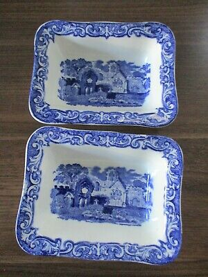 Pair Of Large Blue And White Abbey Ware Double Shredded Wheat Dishes • 30£