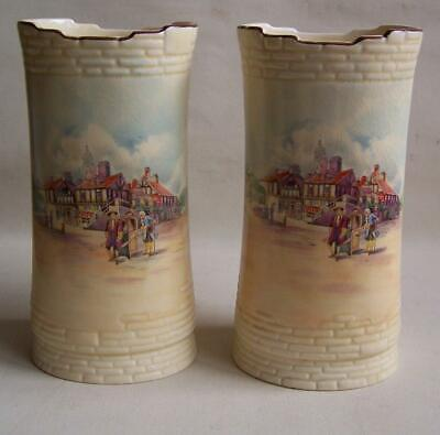 Pair Royal Doulton Historic England Dick Turpin At York Vases. • 8£