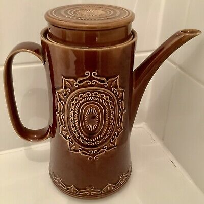 Vintage FURNIVAL'S Barbecue Large Brown Glaze COFFEE POT VGC @ • 12£