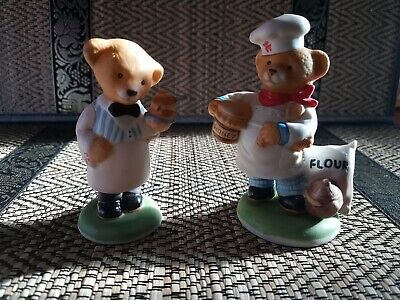 Franklin Mint Fine Porcelain, Chef Pierre And William Waiter Bear Figurines  • 9£