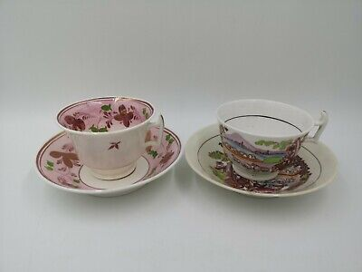 Set Of 2 Antique Luster Ware Tea / Coffee Cups & Saucers • 15£