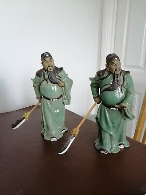 Pair Of Chinese Shiwan Style Mud Man Warrior Figures Holding Weapons • 50£