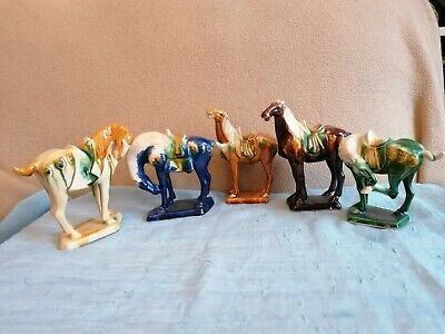 Oriental Style China Horses, Attractive Set Of 5 • 15£