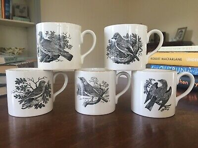 Crown Staffordshire Thomas Bewick 5 Coffee Cups Birds  • 5£