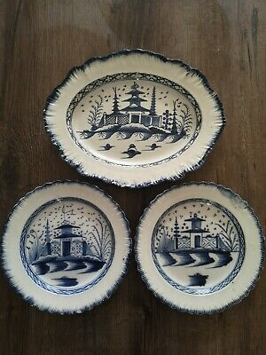 3 X Antique Pagoda Blue & White Pearlware Plates 18th Century (2 Dinner/1 Meat)  • 86£