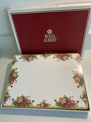 ROYAL ALBERT OLD COUNTRY ROSE  4 Large Fine Melamine Place Mats  Original Boxed • 25£