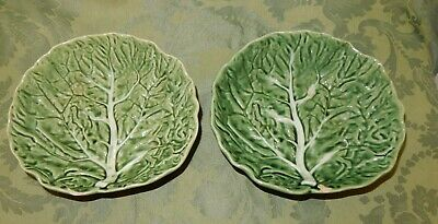 Vintage Pair Of Bordallo Pinheiro Portugal  Cabbage Leaf  Dishes  • 11.99£