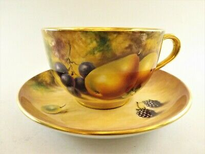 Large Royal Worcester Hand Painted Fruit / Tea Cup & Saucer Signed S Wood R179/1 • 215£