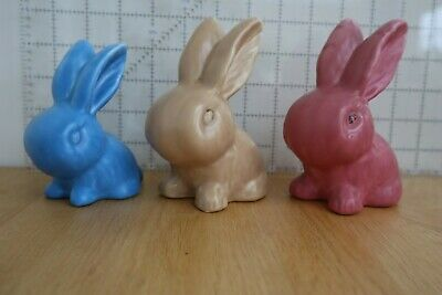 Snub Nose Rabbits, Blue Brown Pink, Approximately 5 Inches High • 11.50£