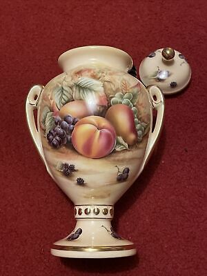 Aynsley Orchard Gold 2 Handle Lidded Urn 9 Inch Gilded Rim And Handle • 12£