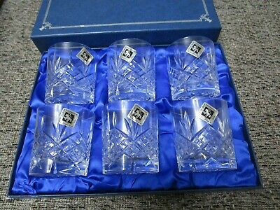 Edinburgh Crystal Continental Whisky Tumbler Set Of Six Glasses In Box Never Use • 13.50£