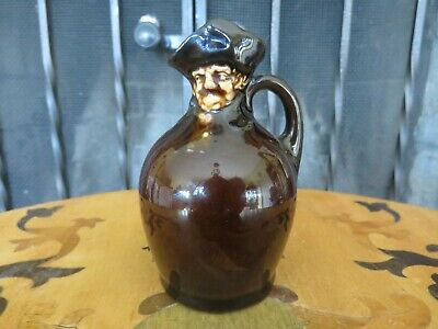 Royal Doulton Kingsware Modelled Head Miniature Whisky Jug Flask (c.1910s) • 73.14£