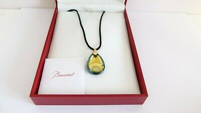 Baccarat 18ct Yellow Gold Mount Small Yellow Psydelic Pendant Necklace - Boxed • 175£