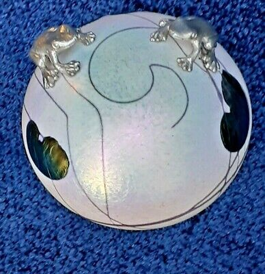 Heron Glass Lily Pad Paperweight With Two Pewter Frogs With Gift Box - UK Made • 55£