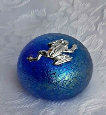 Heron Glass Small Blue Pebble With  Climbing Frog - Gift Box  - Hand Made In UK • 17£