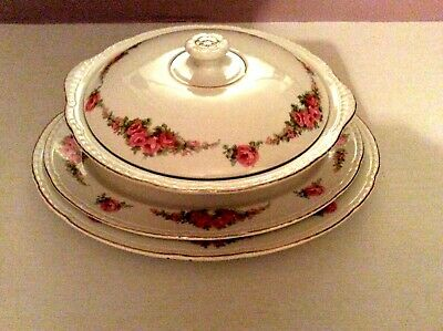 Round, Vegetable Dish With Lid And Two Oval Platters (Maddock, Pink Rose) • 14.99£