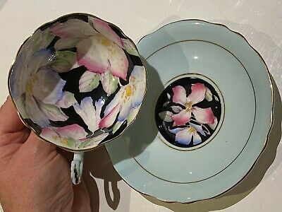 Paragon Fine Town China Cup & Saucer Blue Black CLEMATIS Flowers Not Roses • 46£