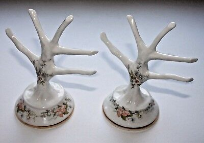 A Pair Of Base Marked Fenton China Ring/Jewellery Trees With A Floral Design • 6£