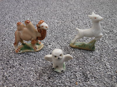 Three Wade Pottery 1950s Whimsies Camel Leaping Fawn Snowy Owl • 29.99£