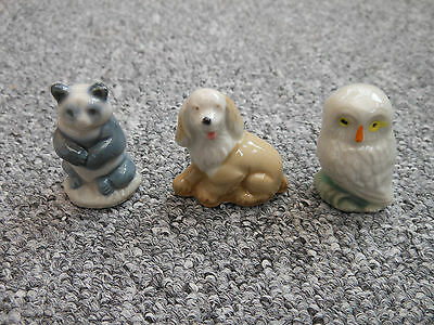 Three Wade Vintage Pottery Whimsieland Figures Panda Owl And Puppy • 17.99£